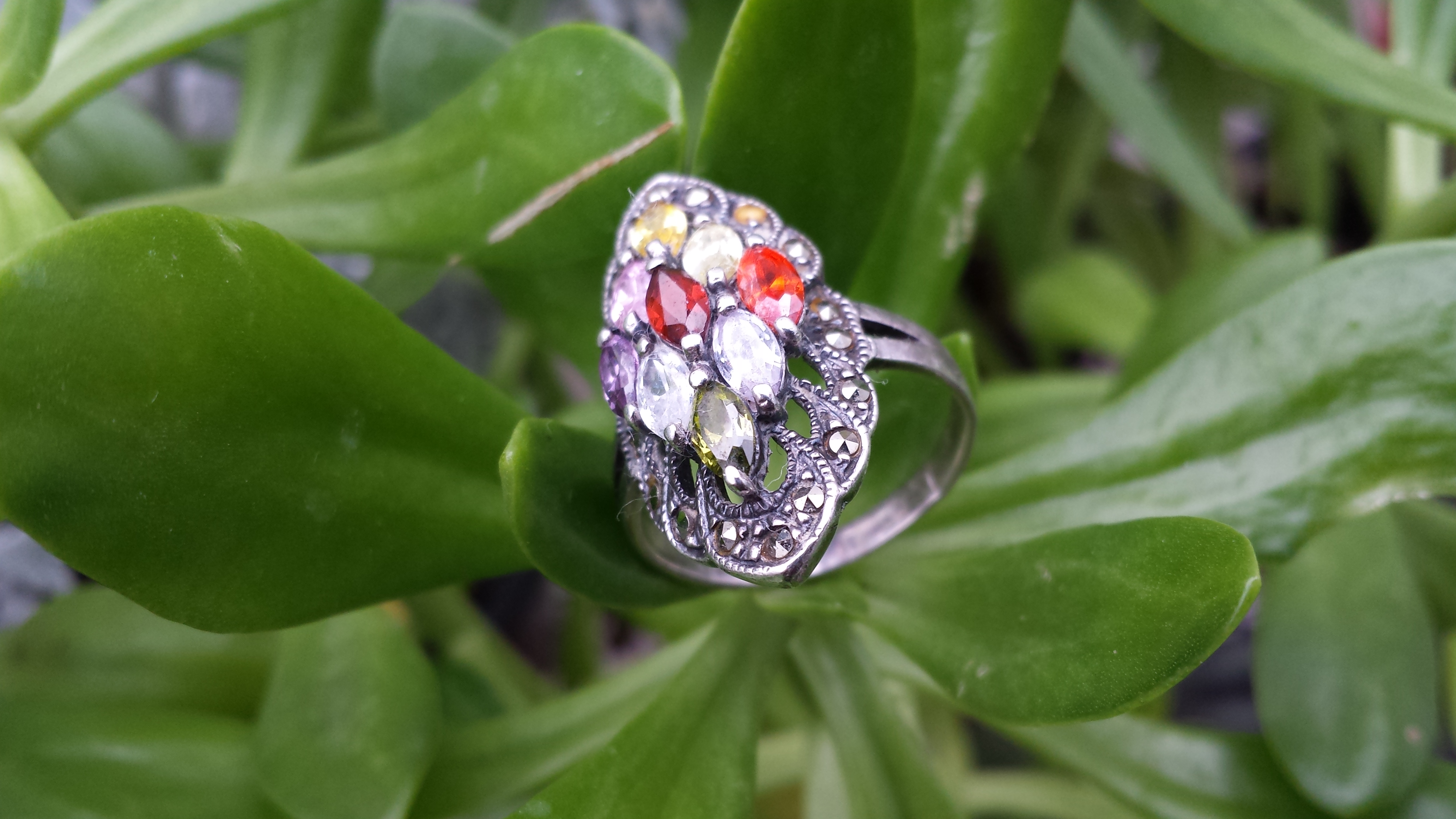 WONDERFUL MARCASITE WITH MULTI COLOUR CUBIC ZIRCONIA RING.